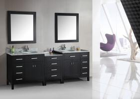92 Inch Double Sink Bathroom Vanity with Carerra Marble Top