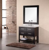 36 Inch Modern Single Sink Bathroom Vanity with Carrera White Marble
