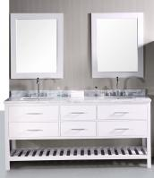 72 Inch Double Bathroom Vanity in Pearl White