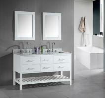 61 Inch Double Sink Bathroom Vanity in White