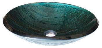 Teal Glass Vessel Sink With Embossed Pattern