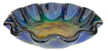 Eden Bath Wave Rim Multi Color Glass Vessel Sink
