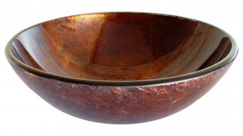 Red Copper Reflections Glass Vessel Sink