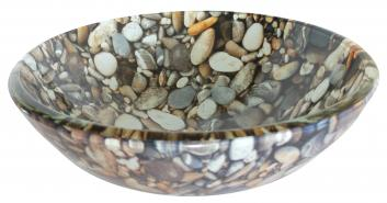 Natural Pebble Pattern Glass Vessel Sink