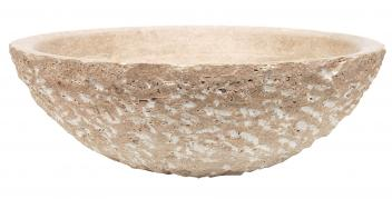 Eden Bath Beige Travertine Vessel Sink Rough Exterior