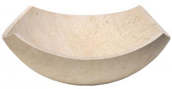 Eden Bath Arched Edges Beige Travertine Bowl Vessel Sink