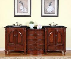 83 Inch Traditional Double Bathroom Vanity with a Black Galaxy Granite Counter Top
