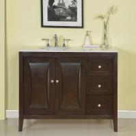 45 Inch Modern Single Bathroom Vanity with a Carrara White Marble Counter Top