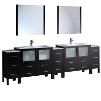 108 Inch Espresso Modern Double Sink Bathroom Vanity