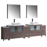 108 Inch Gray Oak Modern Double Sink Bathroom Vanity