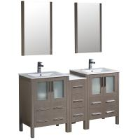 60 Inch Gray Oak Modern Double Sink Bathroom Vanity