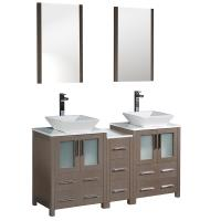 60 Inch Gray Oak Modern Double Sink Bathroom Vanity
