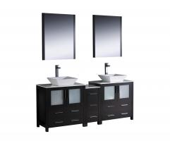 72 Inch Double Vessel Sink Bathroom Vanity in Espresso