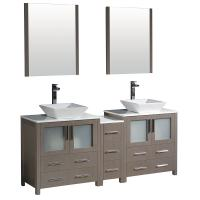 72 Inch Gray Oak Modern Double Sink Bathroom Vanity