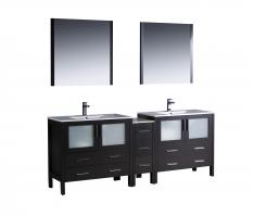 84 Inch Espresso Double Sink Bathroom Vanity with Mirrors