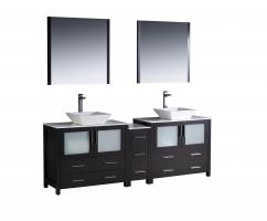 84 Inch Double Vessel Sink Bathroom Vanity in Espresso