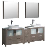84 Inch Gray Oak Modern Double Sink Bathroom Vanity