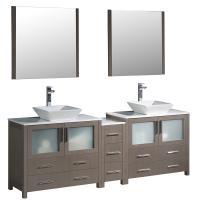 84 Inch Gray Oak Modern Double Sink Bathroom Vanity