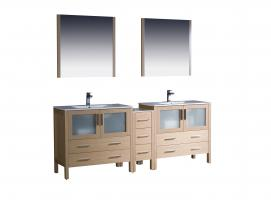 84 inch double sink bathroom vanity with side cabinets