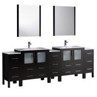 96 Inch Espresso Modern Double Sink Bathroom Vanity