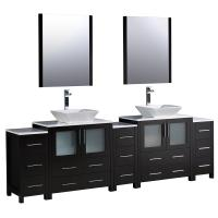 96 Inch Espresso Modern Double Sink Bathroom Vanity