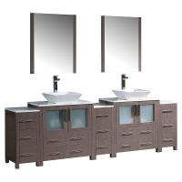 96 Inch Gray Oak Modern Double Sink Bathroom Vanity