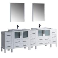 96 Inch White Modern Double Sink Bathroom Vanity