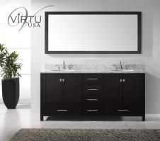 72 Inch Double Sink Bathroom Vanity Set with Matching Mirror