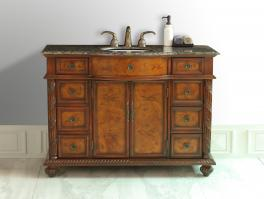 48 Inch Single Sink Vanity In Brown Burl with Choice of Top