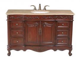 56 Inch Cherry Veneer Single Sink Vanity with Granite or Marble