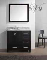 36 Inch Single Sink Bathroom Vanity with Carerra White Marble Top