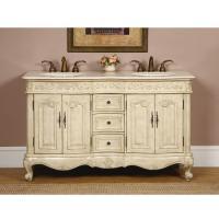 Silkroad Exclusive 58 Inch Double Sink Bathroom Vanity