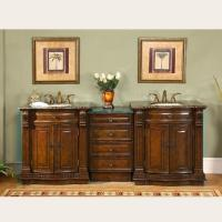 84 Inch Large Double Sink Vanity with Baltic Brown Granite