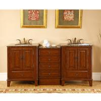 Silkroad Exclusive 76 Inch Double Sink Bathroom Vanity
