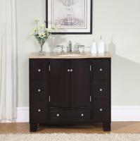 40 Inch Single Sink Espresso Bathroom Vanity with Travertine