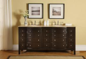72 Inch Double Sink Bathroom Vanity with Dark Brown Finish