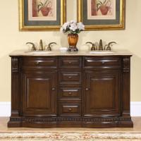 60 Inch Furniture Style Double Sink Vanity with Choice of Top