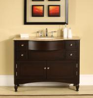 45 Inch Elegant Single Sink Vanity with Travertine Top
