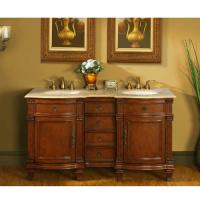 60 Inch Walnut Double Sink Vanity with Travertine Top