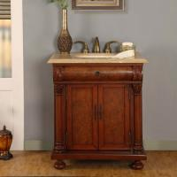 32 Inch LED Single Sink Bathroom Vanity with Travertine