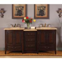 Silkroad Exclusive 73.5 Inch Double Sink Bathroom Vanity