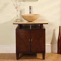 29 Inch  Modern Vessel Sink Vanity with Travertine Top