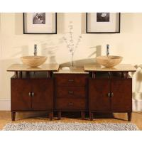 Silkroad Exclusive 73 Inch Double Sink Bathroom Vanity