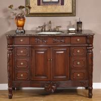 48 Inch Single Sink Vanity with Antique Brown Finish and Granite