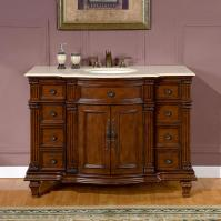 48 Inch Transitional Single Bathroom Vanity with a Cream Marfil Marble Counter Top