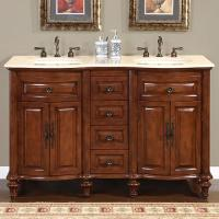 Silkroad Exclusive 55 Inch Double Sink Bathroom Vanity