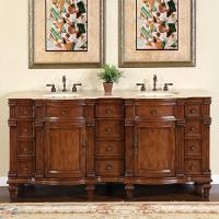 72 Inch Walnut Double Sink Bathroom Vanity with Travertine