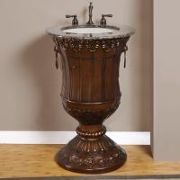 23 Inch Unique Pedestal Bathroom Vanity with Granite