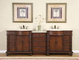 Silkroad Exclusive 90 Inch Double Sink Bathroom Vanity