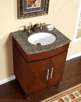 26 Inch Single Sink Vanity with a Unique Pattern and Granite Counter Top